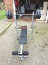 Gym bench and weights.  Wigan, WN1