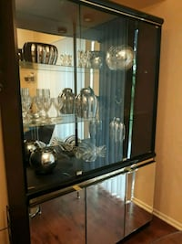 black wooden framed glass & mirror display cabinet