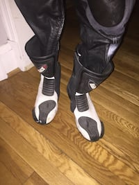 Motorcycle race suit and boots