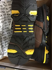 black-brown-and-yellow work boots with box
