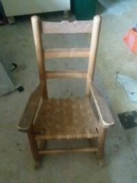 brown wooden framed white padded chair Rolla