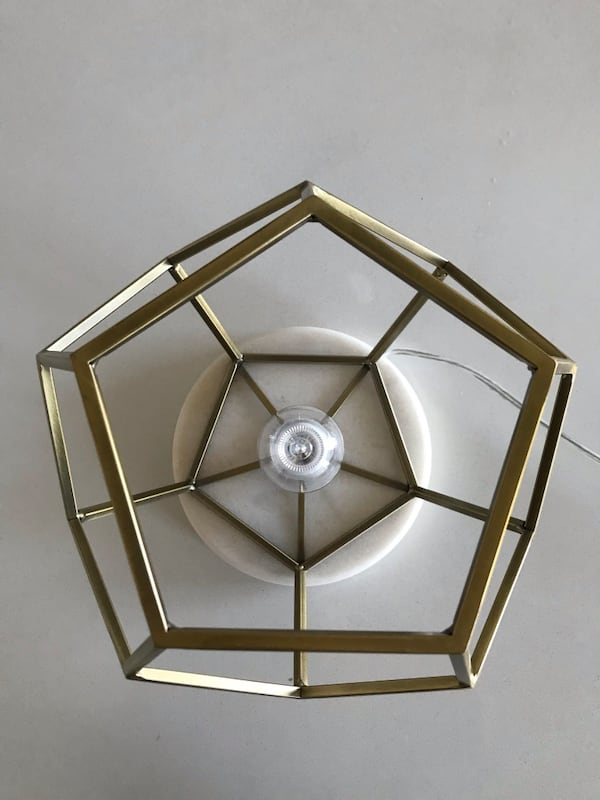 Geometric with Marble Accent Lamp-Brass f419b0f8-aa02-40cc-8018-730be25615d5
