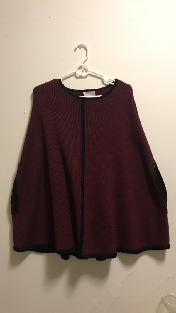 07caf0f76 Used Burgundy and black poncho with faux leather cuff details women's size small  forever 21 for sale in Boston - letgo