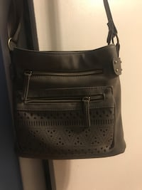 Black and gray leather crossbody bag New York, 10028