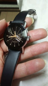round black analog watch with black leather strap Canton, 44705