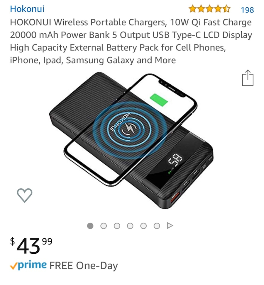 Ipad iPhone HOKONUI Wireless Portable Chargers 10W Qi Fast Charge 20000 mAh Power Bank 5 Output USB Type-C LCD Display High Capacity External Battery Pack for Cell Phones Samsung Galaxy and More