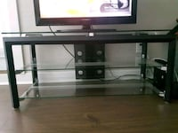 Solid Black Metal and Glass TV Unit Surrey, V3W 0E8