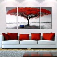 3 piece canvas art red tree Richmond Hill, L4C 8S8