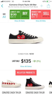 black and red Converse All Star low-top sneaker Guelph, N1G 5C1
