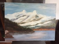 Original oil painting Snow Mountain View 科奎特兰