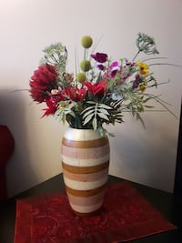yellow and purple poppy flowers with red chrysanthemums centerpiece Laval, H7N 1L5