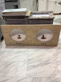 "56"" Custom Cut Granite Countertop Double Sink For Bathroom Vanity Fairfax, 22031"