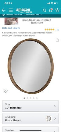 Round Mirror Rustic Wood Framed 33in Diameter Washington, 20017
