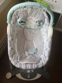 teal and gray Fisher-Price bouncer