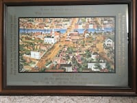 Milwaukee city painting and brown wooden frame