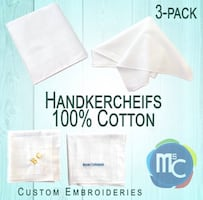 Handkerchiefs Custom Initials Or Full Name Embroidery Pack of 3