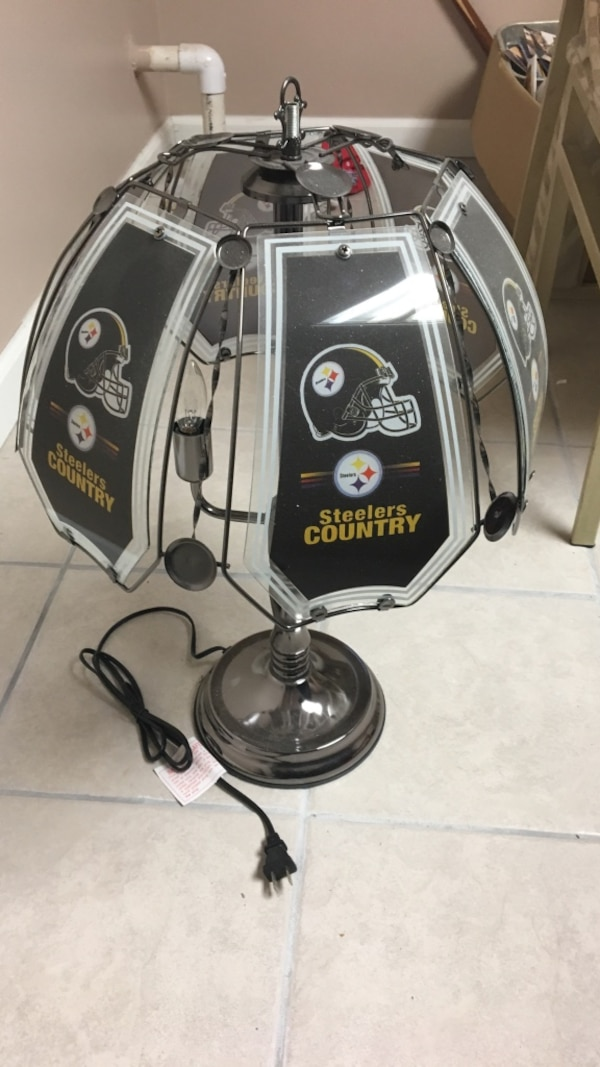 black and gray Pittsburgh Steelers lamp