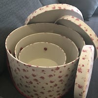 """Ladies Round Hat Boxes With Lift Off Lids Decoration Or Storage Set of 3 : 13"""", 11"""", 8.5"""" Diameter  London, NW3 1AA"""
