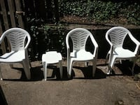 three white plastic monobloc armchairs with table Washington, 20007