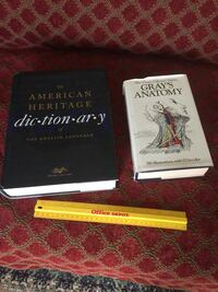 Reference books, Webster's American Heritage dictionary & Grey's Anatomy