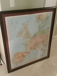 Brown wooden framed western europe map painting wa Hollywood, 33020