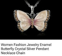 beige and brown butterfly pendant necklace Montréal, H8T