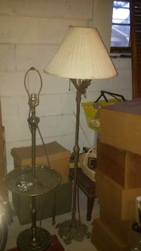 two brown and white table lamps ATLANTA
