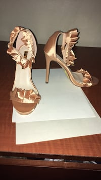 pair of brown leather open toe ankle strap heels Forest Hill, 76119