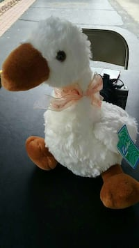 New white and brown duck plush toy