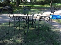 Glass top table and 3 iron stools Wylie, 75098
