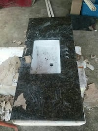 2 White and black granite sinks Gray, 70359