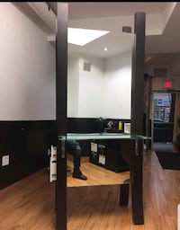2 sided salon station with drawers and power outle