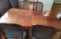 MCM Vintage Walnut dining room table set with 2 leaves & 6 cane back chairs, 2 arm chairs Elmhurst