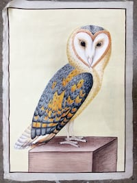Squirrel hair brush Indian Miniature Painting with Barn Owl Queens
