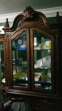 brown wooden framed glass display cabinet 3731 km
