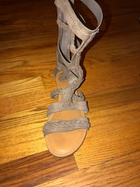 pair of gray leather open toe ankle strap heels Shepherdstown, 25443
