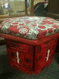 Custom storage ottoman in red and black Somerset, 42503