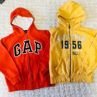 Two bright orange n yellow hoodies excellent condition size 8-10y old
