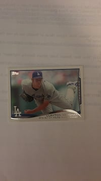 Clayton Kershaw baseball trading card