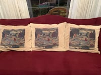 Hand sown tapestry on corduroy pillow beige large  St. Anthony, 55418