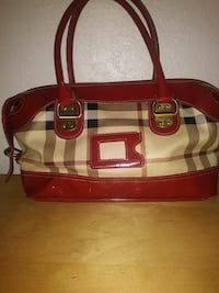 women's plaid Burberry handbag