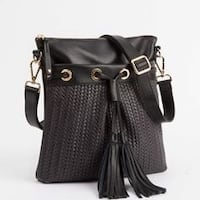 Roots French Tassel woven leather crossbody- black with gold hardware... Vancouver, V5V 4X8
