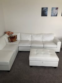 White leather sectional sofa with ottoman Martinsburg