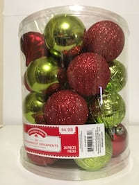red and green Holiday Time waterproof ornaments baubles