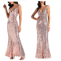 Rose Gold Sequin Gown Brand New size Small Mobile