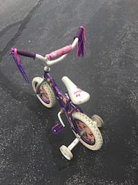 toddler's purple and white bicycle with training wheels Teaneck, 07666
