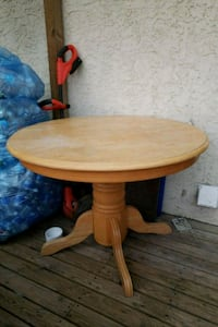 round brown wooden pedestal table with chairs  Mission, V2V 6N7