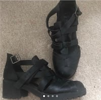 pair of black leather open toe ankle strap heels London, SE27 0BJ