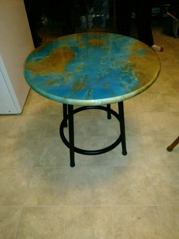 Blue And Gold Epoxy Resin Table