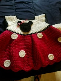 toddler's red and white knitted dress Humble, 77338